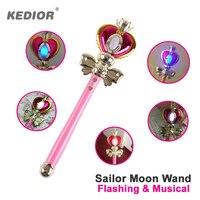 Sailor Moon Vara Anime Cosplay Prop Lua Coração Vara Musical Varinha Mágica Brilho Brinquedos de Presente para Meninas VS Bandai