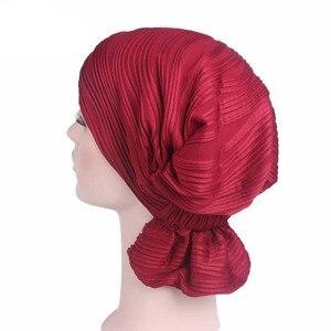 Image 1 - Nowy damski bawełniany kapelusz po chemioterapii czapka Turban z łbem nakrycia głowy dla raka muzułmańskiego jednokolorowego