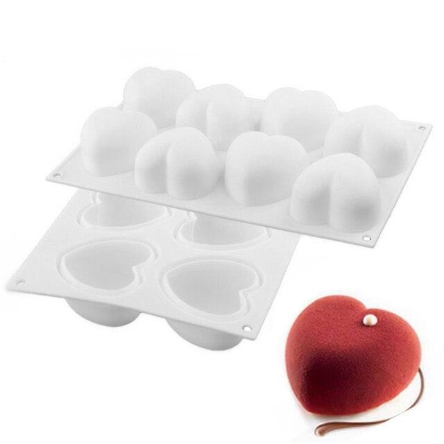 1 PCS Bianco Non-Stick Silicone A Forma di Cuore di Cottura Della Muffa 3D Torta