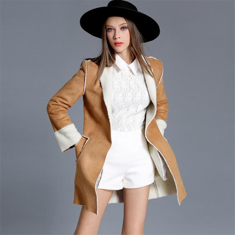 Women   Suede   Jackets 2018 Autumn Winter Faux Shearling Sheepskin Coats Woman Long Sleeve Lambs Wool Warm Coats Ma061