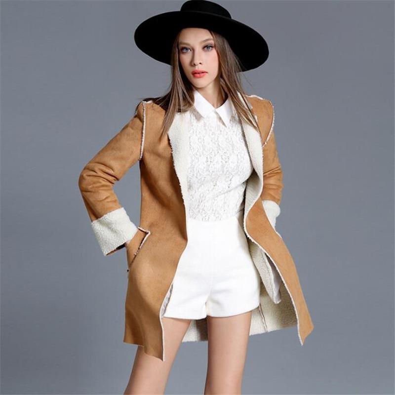 Women   Suede   Jackets 2019 Autumn Winter Faux Shearling Sheepskin Coats Woman Long Sleeve Lambs Wool Warm Coats Ma061