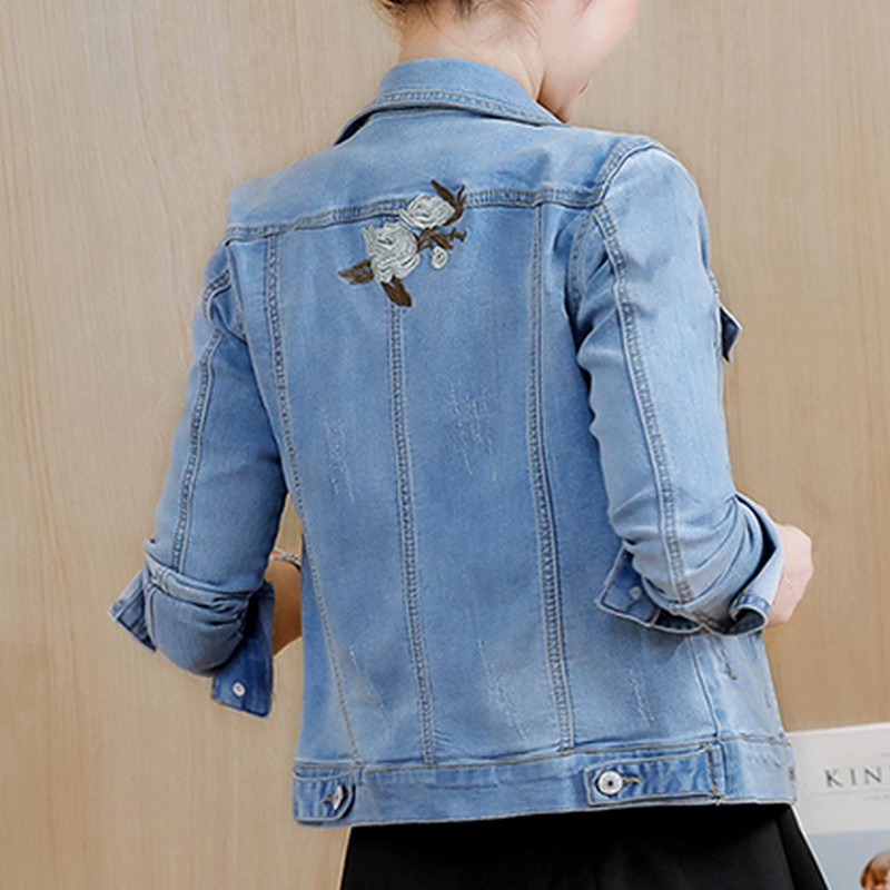 f5e61bf5d51 PLAMTEE Vintage Floral Embroidery Female Denim Jacket Kpop Bomber Winter  Jackets Women Long Sleeve Short Coat 2017 Jaqueta New -in Basic Jackets  from ...