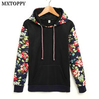Spring Autumn Winter Women Casual Thick Warm Floral Printed Hoodies Sweatshirts Long Sleeve Hooded Long Coat