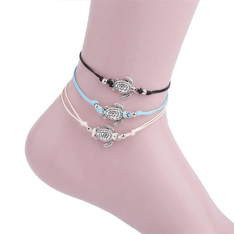 ฤดูร้อนชายหาดรูปเต่า Charm เชือก String Anklets สำหรับผู้หญิงข้อเท้าสร้อยข้อมือผู้หญิงรองเท้าแตะบนขาเท้าเครื่องประดับ