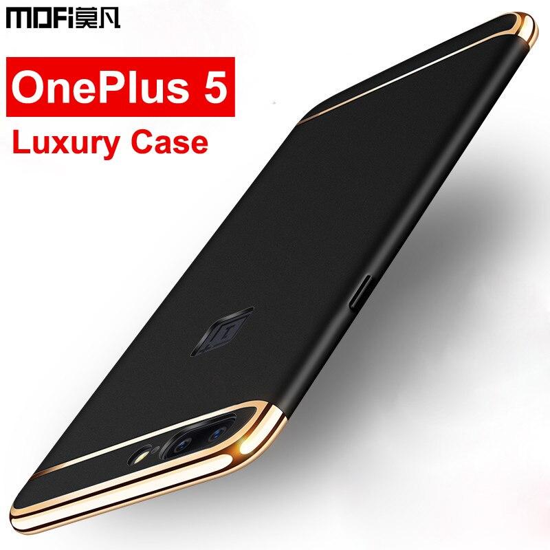 Для OnePlus 5 Дело MOFI 3 в 1 съемная Глянцевая противоударный покрытие металла текстура кожи протектор Телефон чехол для OnePlus 5 5.5