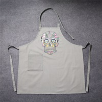 100 Cotton Canvas Kitchen Apron Fashion Printed Skull Woman Man Unisex Cooking Aprons With Pocket Funny