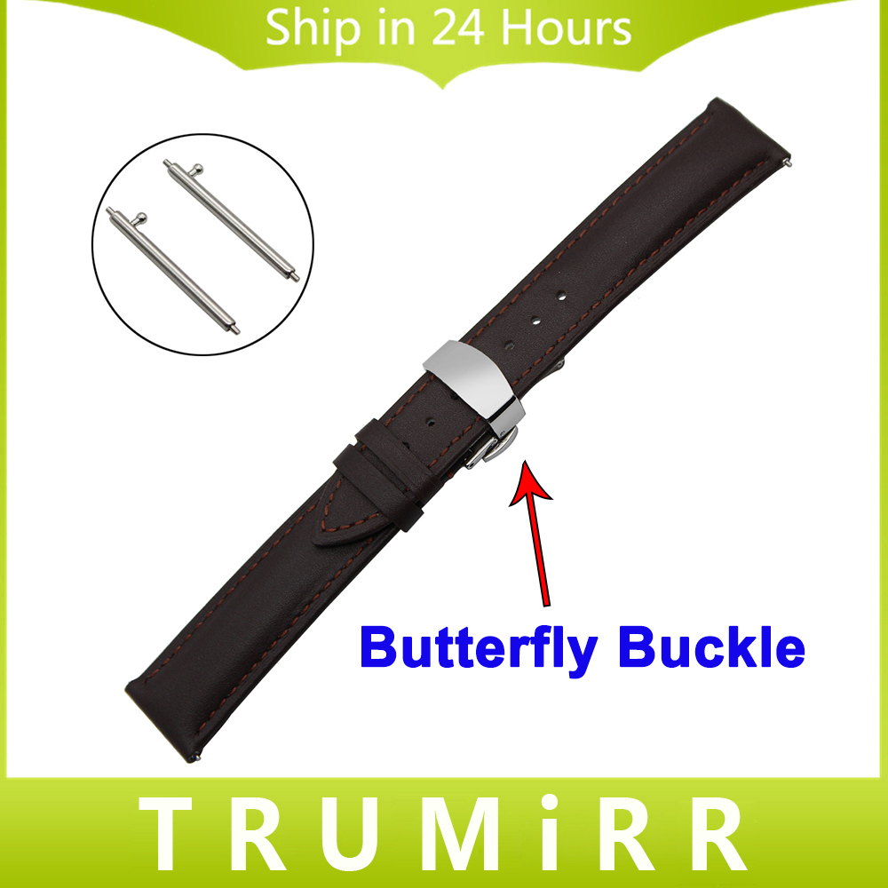 20mm 22mm Quick Release Watch Band Butterfly Buckle Strap for IWC Men Women 1st Layer Genuine Leather Belt Wrist Bracelet Brown цена