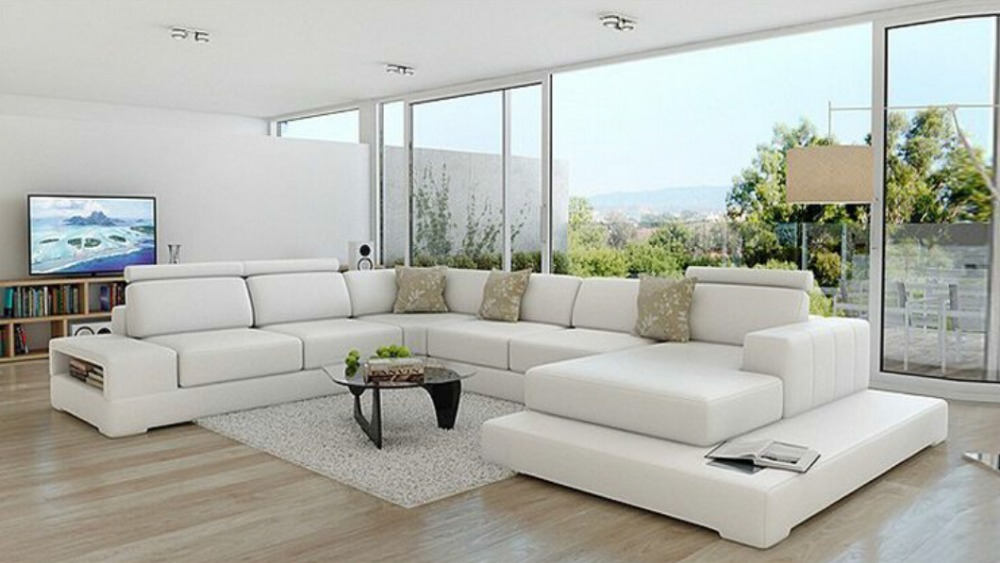 u shape living room leather couch