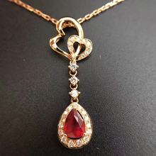 0 654ct 0 24ct 18K Gold Natural Ruby and Pendant Necklace Diamond inlaid 2016 Factory Direct