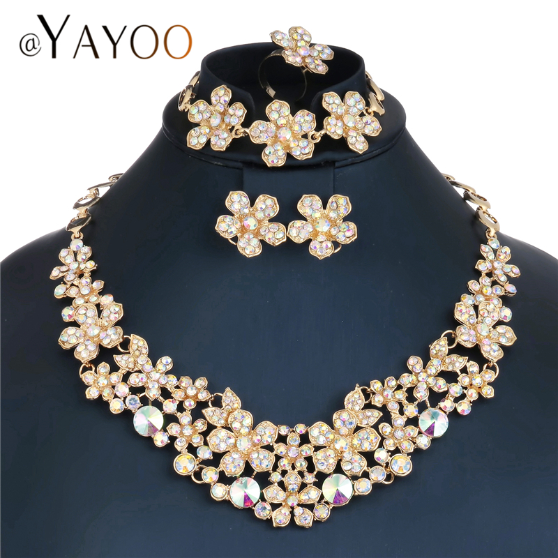 AYAYOO Jewelry Sets Women Vintage African Beads Jewelry Set Flower Cheap Indian Jewellery Imitation Crystal Dubai Jewelry Sets