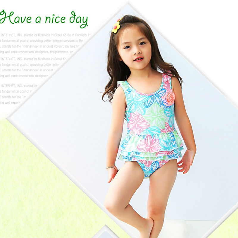 Girls Swimwear Kids Bathing Suits Girls One Piece Bikini 2017 New Girls Swimsuit Kids Swimwear Floral Print Toddler Swimwear