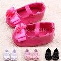 Новый сладкий ребенок новорожденные обувь для детей девушки анти-слип плоские цветок обувь принцесса первые ходоки PU кожаные ботинки 5BS26
