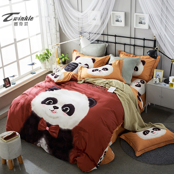 Natural Super Soft Cotton Bedding FULL Set 4 pcs QUEEN SIZE Bed Double Bedding Duvet Cover Sheet 2 Pillowcases Panda Bed Set