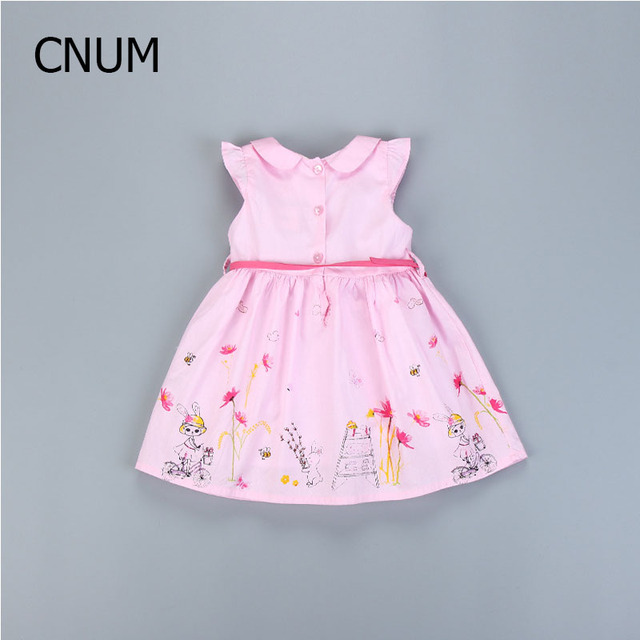 Cartoon Flying Sleeves Printed Cotton Girls Dresses New 2017 Girls Cotton Printed Love Child Infant Princess Dress Summer Baby