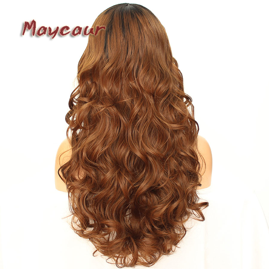 Maycaur Glueless Black Long Wavy Wig with Side Bangs Synthetic Hair Wigs for Women Heat Resistant Fiber Hair Wigs (11)