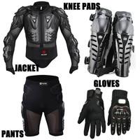 Motorcycle Racing Motorcross Riding Body Armor Protective Jacket Gears Short Pants Motorcycle Knee Protector Moto Gloves