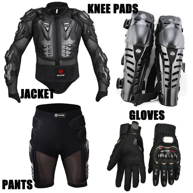 4 pièces Moto vestes De Course De Motocross Armure Veste De Protection + Engrenages Pantalon Court + Moto Genou Protecteur + gants de Moto