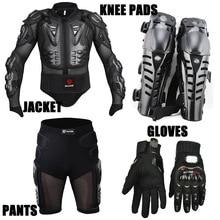 4 UNIDS Motociclismo Motocross Riding Chaqueta Body Armor Protector Engranajes + Short Pants + Motocicleta Knee Protector + Moto guantes