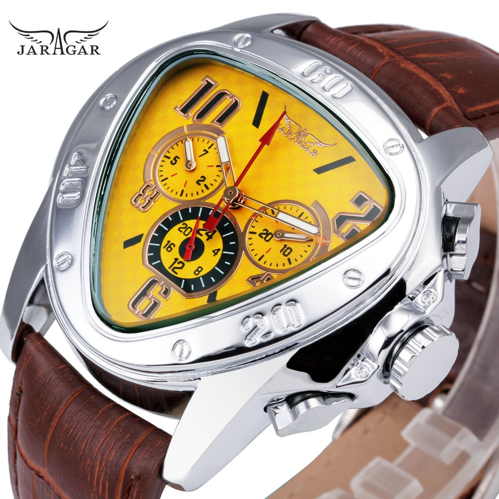 JARAGAR Mode Sportliche Männer Auto Mechanische Uhr Lederarmband 6 Hände 24 H Datumsanzeige Dreieck Fall Kreative Uhr