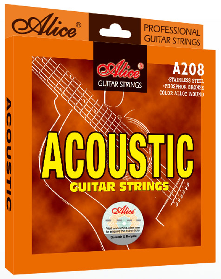 Acoustic Guitar Strings 011 012 inch Stainless Steel Coated Copper Alloy Wound Alice A208 rotosound rs66lc bass strings stainless steel
