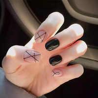 24 Pcs/Set Solid Milk Pink Black Nail Tips Acrylic Short Full False French Nail Art Tips with Glue Sticker Fashion Style SK88