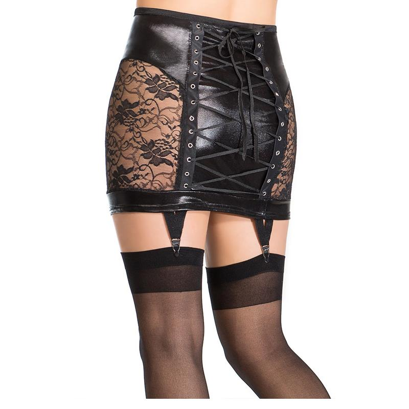 Fesyen Sexy Lady Vinyl Leather Floral Lace Hollow Out Skirt Pensil Seduce Exotic Black Lace Up Rendah Pinggang Skirt Clubwear