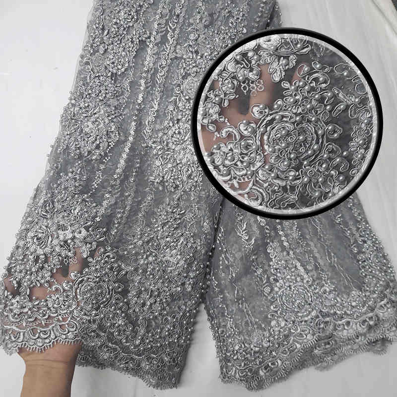 Amazing Wedding lace beautiful 2018latest African Heavy hand lace Mesh with beads lace Fabrics for Evening dresses GZ1018 Gray