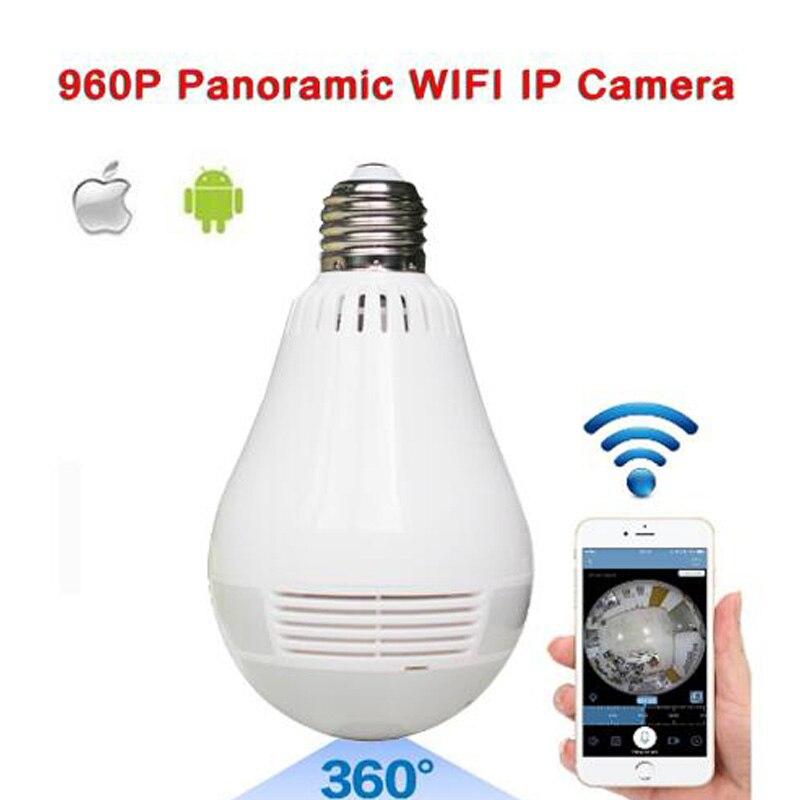 Bulb Light Wireless IP Camera Wi-fi FishEye 960P 360 degree panoramic Mini VR Camera 1.3MP Home Security WiFi Camera Panoramic light bulb camera vr 360 degrees wifi3d fisheye panoramic light camera network led