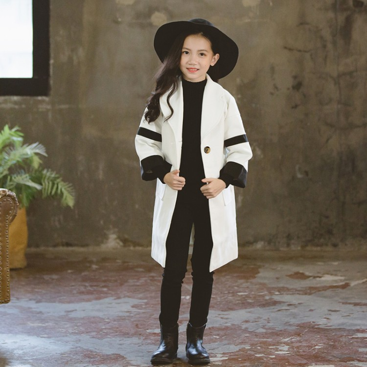 Girls color matching woolen coat autumn winter 2018 new woolen long-sleeved thick coat 3-12 baby girl clothes [available from 11 11]hat woolen hat canoe3448347
