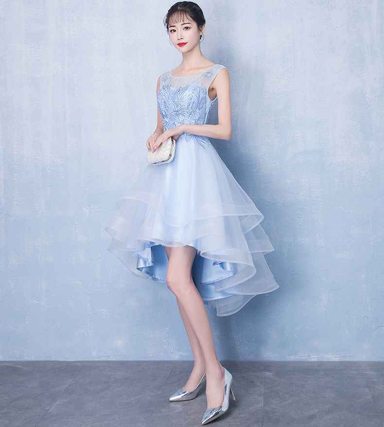 ef63ba55a70 ... Walk Beside You 8 Grade Graduation Dresses Sky Blue Tulle Lace Applique  Sequined Short Front Long ...