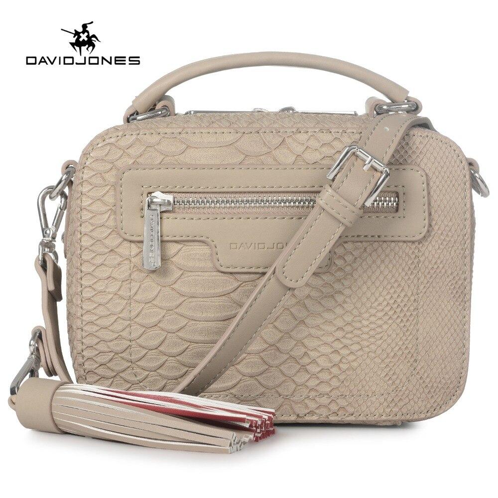 DAVIDJONES femmes messenger sacs pu en cuir femelle bandoulière sacs petite dame serpentine sac à main fille épaule sac drop shipping