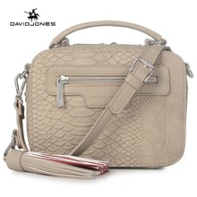 DAVIDJONES women messenger bags pu leather female crossbody bags small lady serpentine handbag girl  shoulder bag drop shipping