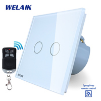 WELAIK Glass Panel Switch White Wall Switch EU Remote Control Touch Switch Light Switch 2gang1way AC110