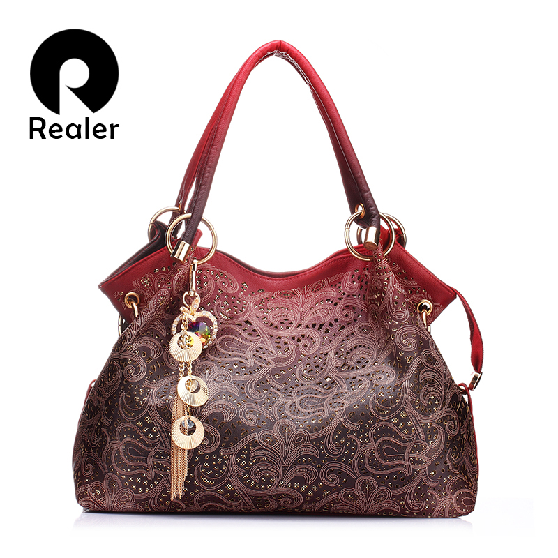 REALER hollow out ombre handbag female floral print shoulder crossbody bags ladies leather totes messenger bags