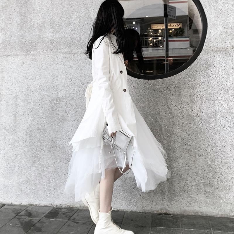 xitao Irrégulière Pleine Solide Printemps Tempérament À Dll2479 Unique White Manches 2019 Entaillée Femelle Blazer Col Poitrine Couleur r5r8w