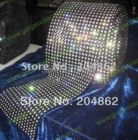 10 ярдов 18 ряда черный Пластик база Кристалл Rhinestone сетки с отделкой SS16 4 мм прозрачных камней для DIY костюм аксессуары