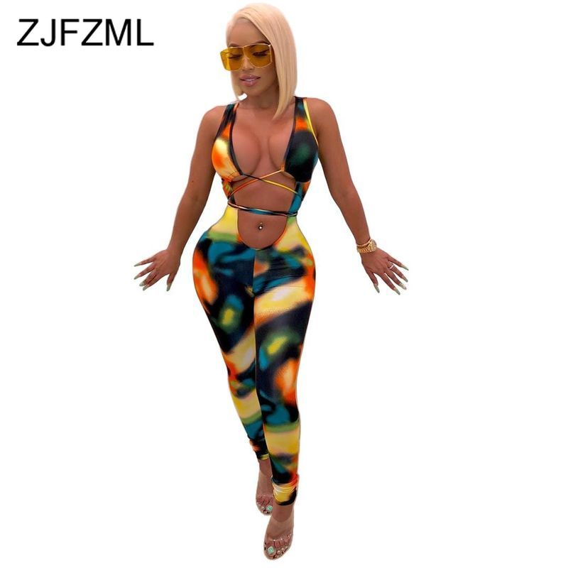 Tie Dye Print Sexy Bodycon Jumpsuit Women Deep V Neck Sleeveless Skinny Romper  Summer Waist Band Cut Out Backless Party Catsuit