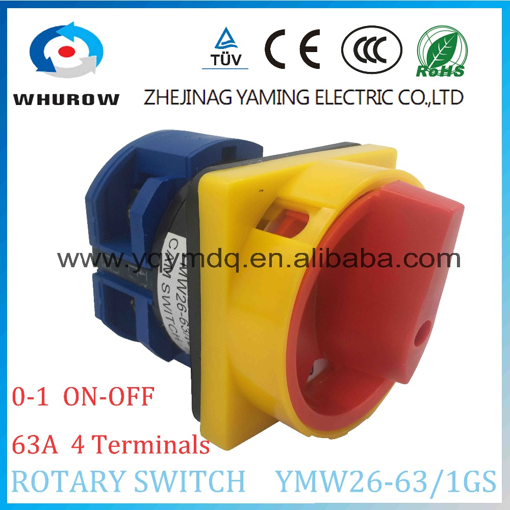 LW26 YMW26-63/1GS Rotary switch 2 postion (OFF-ON)  690V 63A 1 pole 4 terminal screw universal changeover cam main switch 660v ui 10a ith 1 0 2 on off on universal rotary cam changeover switch