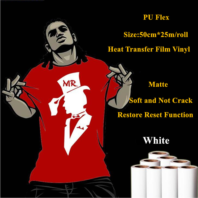 PU heat transfer vinyl for clothing Sticky back white thermel press film for t shirt heat transfer film vinyl 50cm*25m/roll free shipping 5rolls 50cmx100cm heat transfer vinyl film pet metal light mirror finish for textile print