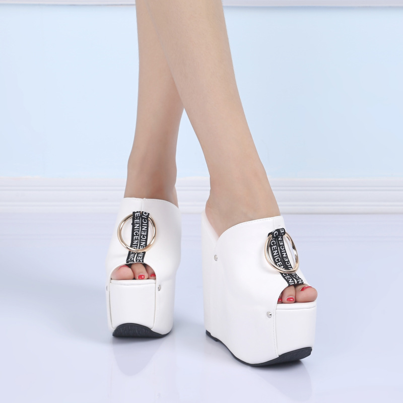 POADISFOO Home Model Show Wild Slope With High Heels Slippers Version Fashion Ring 16CM With Heels Ladies Shoes .ZYW-999-2