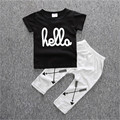 New baby boys summer cotton clothing 2pcs/set letter printing T-shirt+casual Pants baby boutique clothing