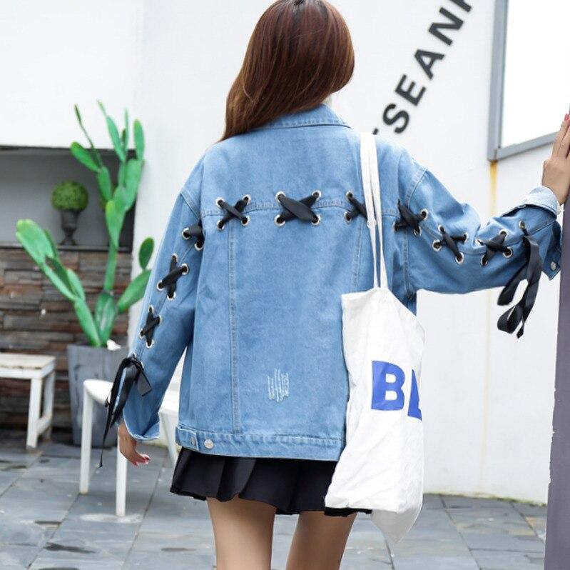 Streetwear Rouge bleu Bandage Jeans Manteau Hip Punk Hop 3328 Blue Denim Grande rouge Femmes Taille Retour Veste Lâche Harajuku PY1gWqwp