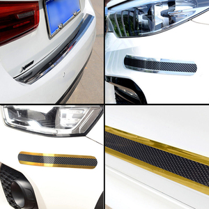 Image 5 - Car Stickers Styling 5D Carbon Fiber Rubber Door Vinyl Sill Protector Goods Bumper Decorative Strip For KIA Ford etc Accessories
