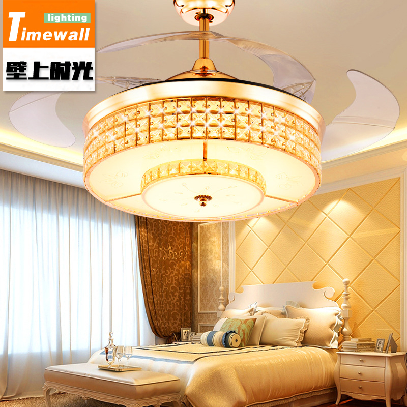 Remote control LED stealth <font><b>fan</b></font> lamp restaurant modern simple with a light <font><b>Fan</b></font> Room Deluxe crystal ceiling lamp