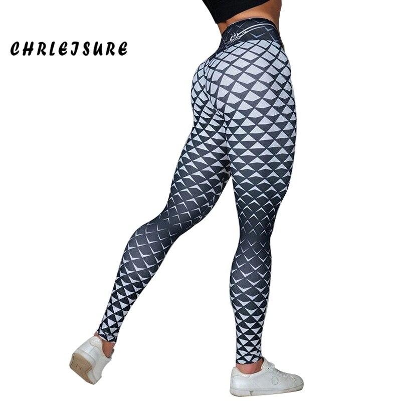 CHRLEISURE   Leggings   Women 2018 Fashion Casual Grid Print   Leggings   Polyester Hips High Waist Breathable Comfort Female pants