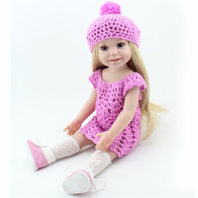 18 Inch American Girl Dolls Princess Dolls Toys For Girls Children Birthday/Chrismas Gift,Lovely Girls Doll With Clothes And Hat barbie originais pet set dolls with girl dolls barbie dolls boneca children gift brthday gift for girls brinquedo toys djr56