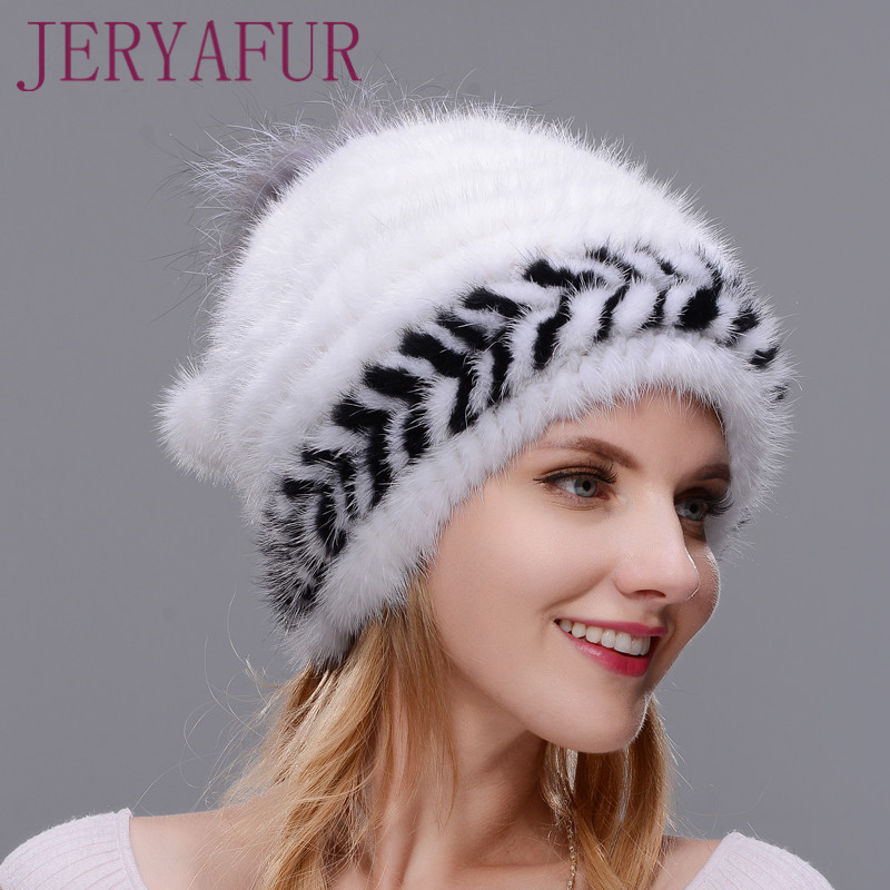 Winter Ear Warm Hat For Women Spiral-weave Knitting Cap Real Natural Mink Hat,Top Opening With Fox Fur Around Two-color Match the new children s cubs hat qiu dong with cartoon animals knitting wool cap and pile