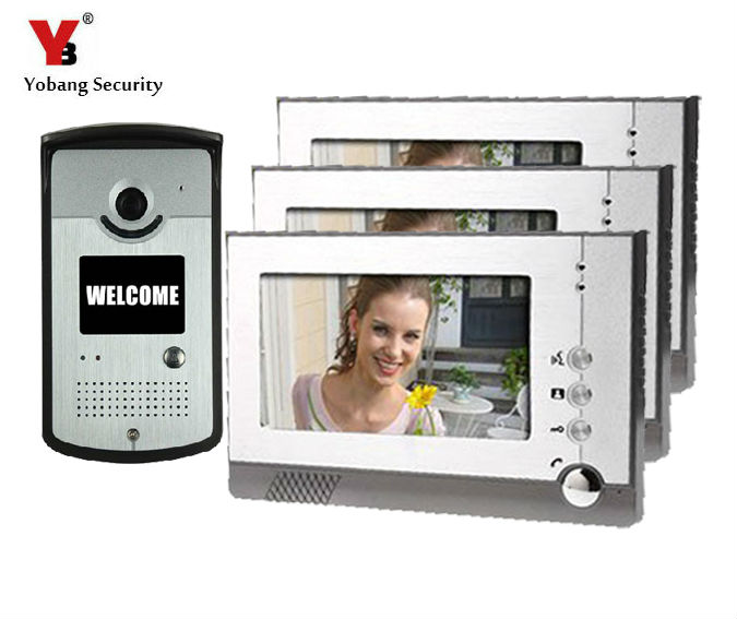 Yobang Security 7inch LCD video door phone door camera Night Vision Doorbell Home Security porteros electricos con camaras 7 inch video doorbell tft lcd hd screen wired video doorphone for villa one monitor with one metal outdoor unit night vision