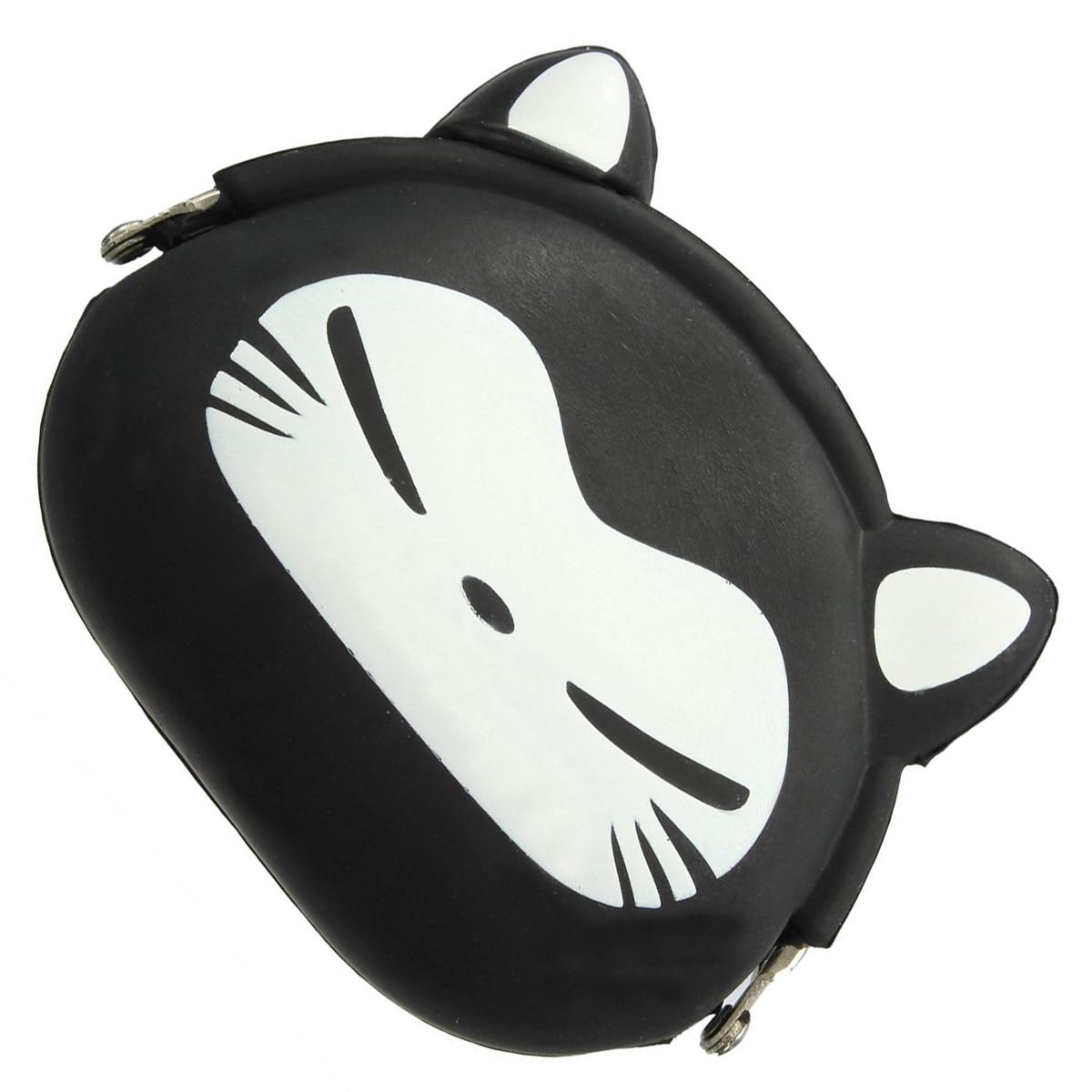 5pcs of Women Girls Wallet Kawaii Cute Cartoon Animal Silicone Jelly Coin Bag Purse Kids Gift Black Fox