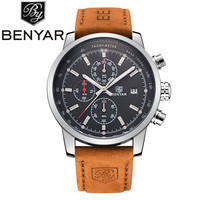 BENYAR Brand Sport Men Watch Top Brand Luxury Male Leather Waterproof Chronograph Quartz Military Wrist Watch